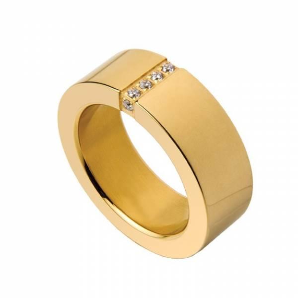 Aliança HASSU em aço com 3 zirconias-dourado