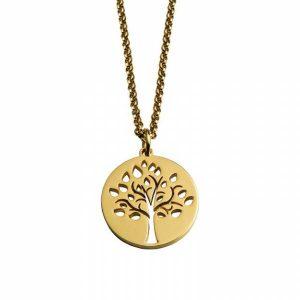 Colar Fio de cadeado HASSU em aço - Árvore da vida-dourado