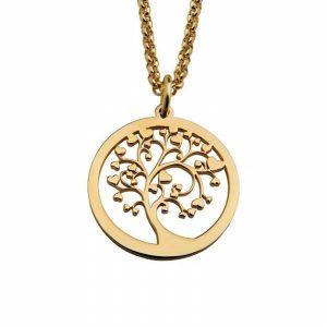 Colar Fio de cadeado HASSU em aço - Árvore do amor-dourado
