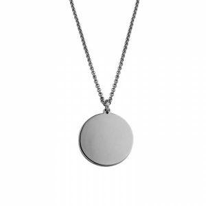 Colar fio de cadeado HASSU em aço com medalha redonda