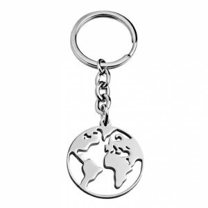 Porta chaves HASSU em aço – Mundo – Prateado